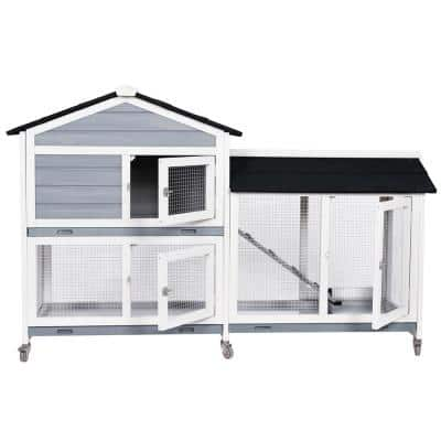 Wooden Bunny Cage Rabbit Hutch with Ramp and Lockable Wheels for Outdoor and Indoor in White