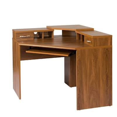 Corner Desk with Monitor Platform, Keyboard Shelf and 2-Drawers