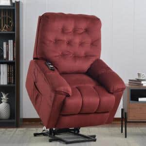 35 in. Width Big and Tall Red Fabric Tufted Lift Recliner