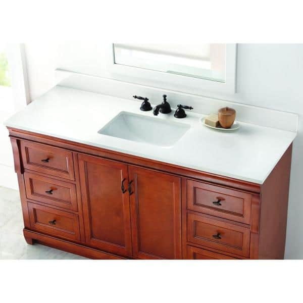 Home Decorators Collection 61 In W Engineered Marble Single Sink Vanity Top In Winter White With White Trough Sink 61004 The Home Depot