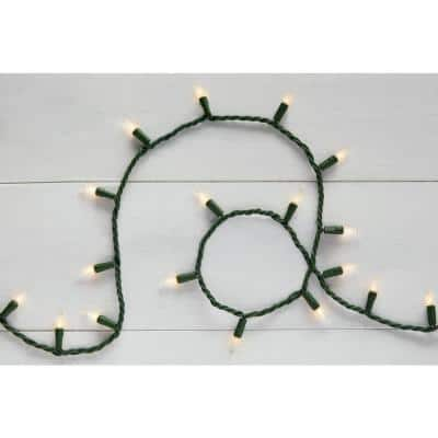 22 ft. 100-Light Mini Incandescent Clear White String Light with Green Wire