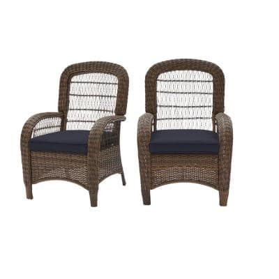 Beacon Park Brown Wicker Outdoor Patio Captain Dining Chair with CushionGuard Midnight Navy Blue Cushions (2-Pack)