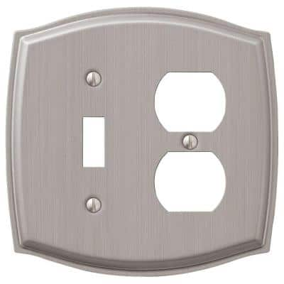 Vineyard 2 Gang 1-Toggle and 1-Duplex Steel Wall Plate - Brushed Nickel