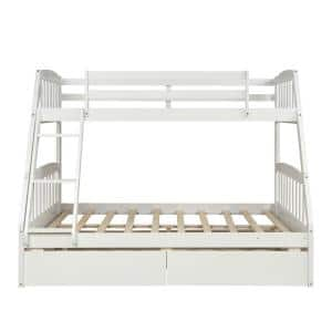 White Solid Wood Twin Over Slat Headboard Full Bunk Bed with 2-Storage Drawers