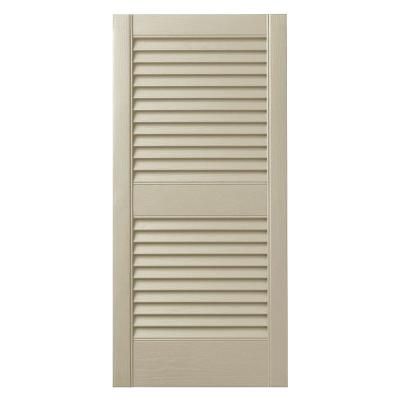 15 in. x 25 in. Open Louvered Polypropylene Shutters Pair in Sand Dollar
