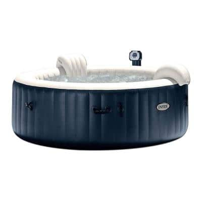 PureSpa 4-Person Inflatable Hot Tub, Slip-Resistant Seat and Foam Headrest