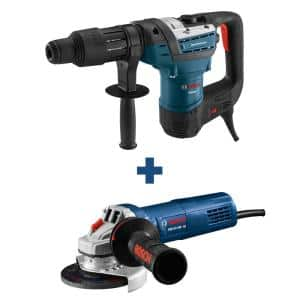12A 1-9/16 in. Corded SDS-Max Concrete/Masonry Rotary Hammer Drill with Carrying Case + 10A Corded 4.5in. Angle Grinder