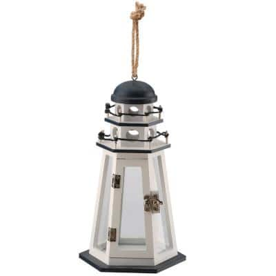 10 in. Lighthouse White Candle Holder (Set of 1)