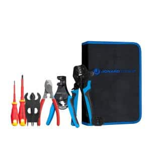 Solar Panel Crimping Tool Kit for MC3 and MC4 Connector Contacts with Included Spanners and Insulated Screwdrivers