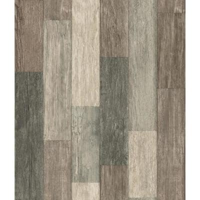 Coastal Weathered Plank Vinyl Peel & Stick Wallpaper Roll (Covers 28.18 Sq. Ft.)