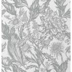 Cinna Silver Wild Flowers Silver Wallpaper Sample