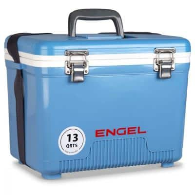 13 qt. Compact Durable Ultimate Leak Proof Outdoor Dry Box Cooler, Blue