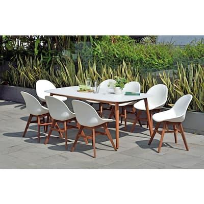 Carilo Deluxe 9-Piece Eucalyptus Wood Rectangular Patio Dining Set