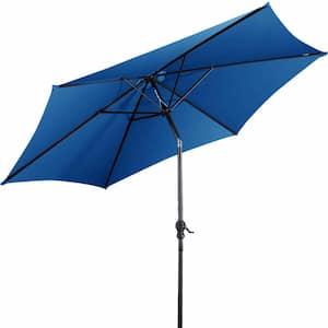9 ft. Steel Market Tilt Patio Umbrella in Blue with Crank