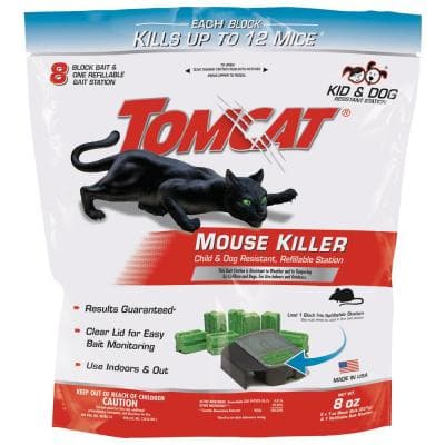 Mouse Killer Child and Dog Resistant Refillable Station, 1 Station with 8 Baits