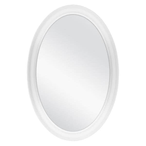 Home Decorators Collection 21 In W X 31 In H Framed Oval Anti Fog Bathroom Vanity Mirror In White Finish 81167 The Home Depot