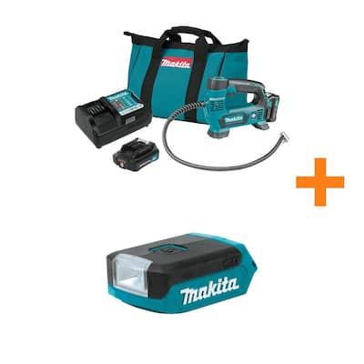 Makita 12-Volt Max CXT Lithium-Ion Cordless Inflator Kit, 2.0Ah w/ Bonus 12V Max CXT Lithium-Ion Cordless L.E.D. Flashlight