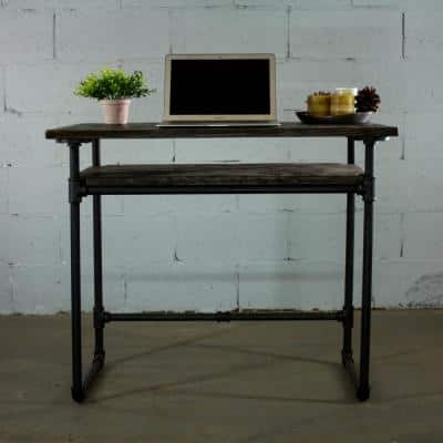 36 in. Rectangular Black Writing Desk with Solid Wood Material