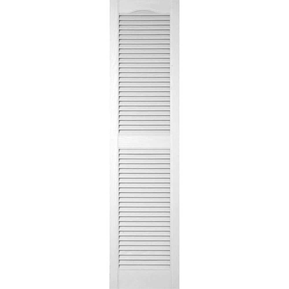 Reviews For Ekena Millwork 18 In X 34 In Lifetime Vinyl Custom Cathedral Top Center Mullion Open Louvered Shutters Pair Bright White Ll1c18x03400bw The Home Depot