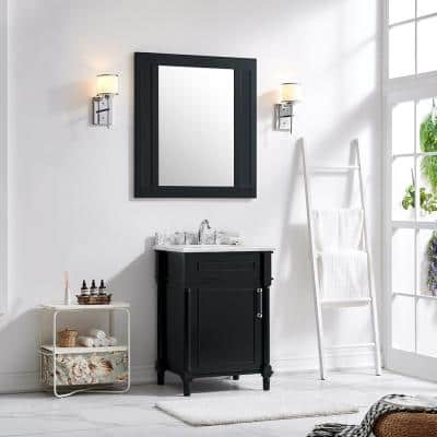 Aberdeen 24 in. W x 20 in. D Vanity in Black with Carrara Marble Top with White Sink