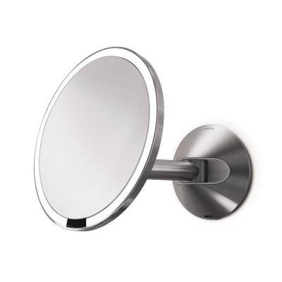 Wall-Mount Lighted Sensor-Activated Vanity Makeup Mirror in Brushed Stainless Steel