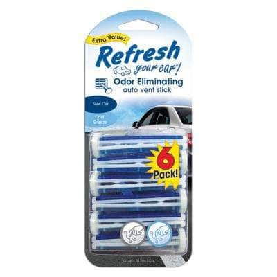 New Car and Cool Breeze Odor Eliminating Auto Vent Stick (6-Pack)