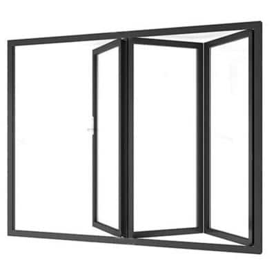 96 in. x 80 in. Fold In/Fold to Right Black Finished Double Prehung Patio Door with Aluminum Frame