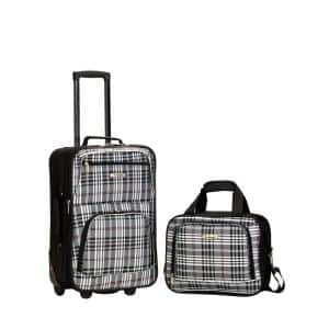 Rio Expandable 2-Piece Black-Cross Carry-On Soft-Side Luggage Set