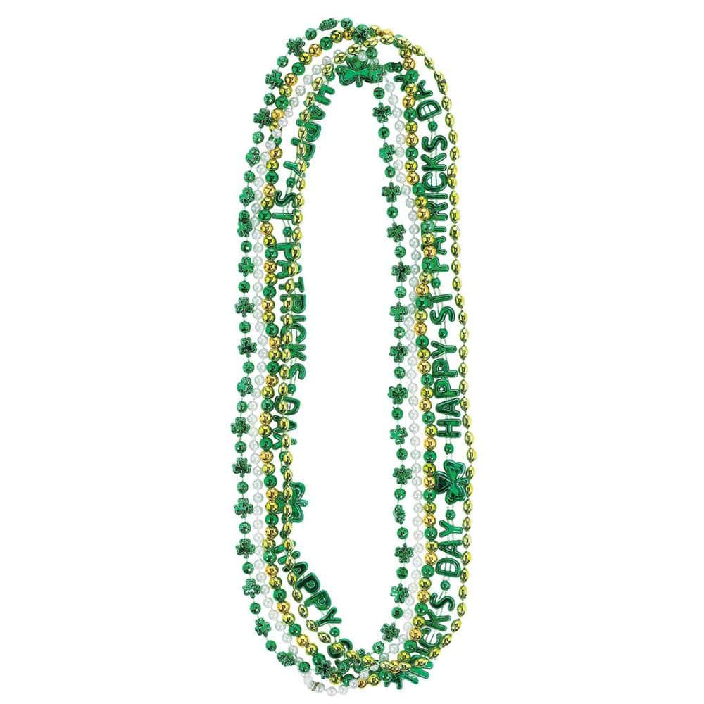 Amscan Green Gold And Silver St Patrick S Day Bead Necklace Assortment 5 Count 3 Pack 396769 The Home Depot