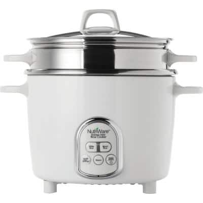 NutriWare Digital Pot Style 7-Cup Rice Cooker with Glass Lid and Non-Stick Pot