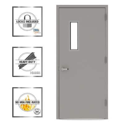 36 in. x 80 in. Vision Lite 520 Left-Hand Steel Prehung Commercial Door with Welded Frame