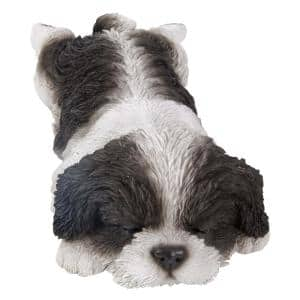 Black and White Shih Tzu Puppy Sleeping Statue