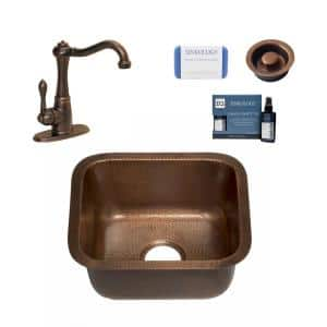 Sisley Pro 18 Gauge Copper 17 in. Undermount Bar Sink with Pfister Faucet and Drain