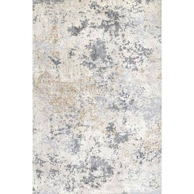 Contemporary Motto Beige 9 ft. x 12 ft. Indoor Abstract Area Rug