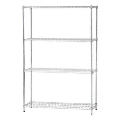 Heavy Duty 4 Shelf Wire Storage Unit, Silver
