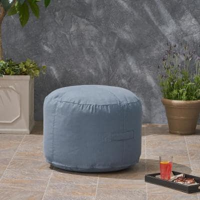 Sandy Cay Blue Water Resistant Outdoor Ottoman Pouf