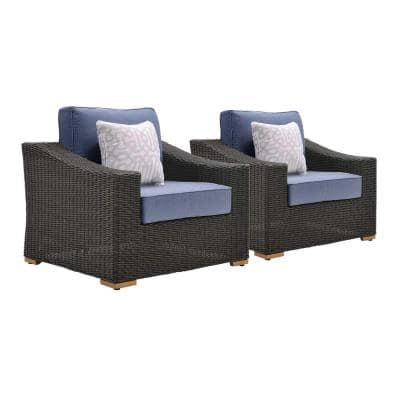 New Boston 2-Piece Wicker Outdoor Lounge Chair with Sunbrella Spectrum Denim Cushion