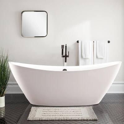 Valence 71 in. Acrylic Flatbottom Freestanding Bathtub in White