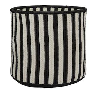 Black 14 in. D x 14 in. W x 12 in. H Vertical Stripe Round Basket