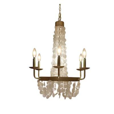 6-Light Brushed Gold Chandelier with Capiz Shells