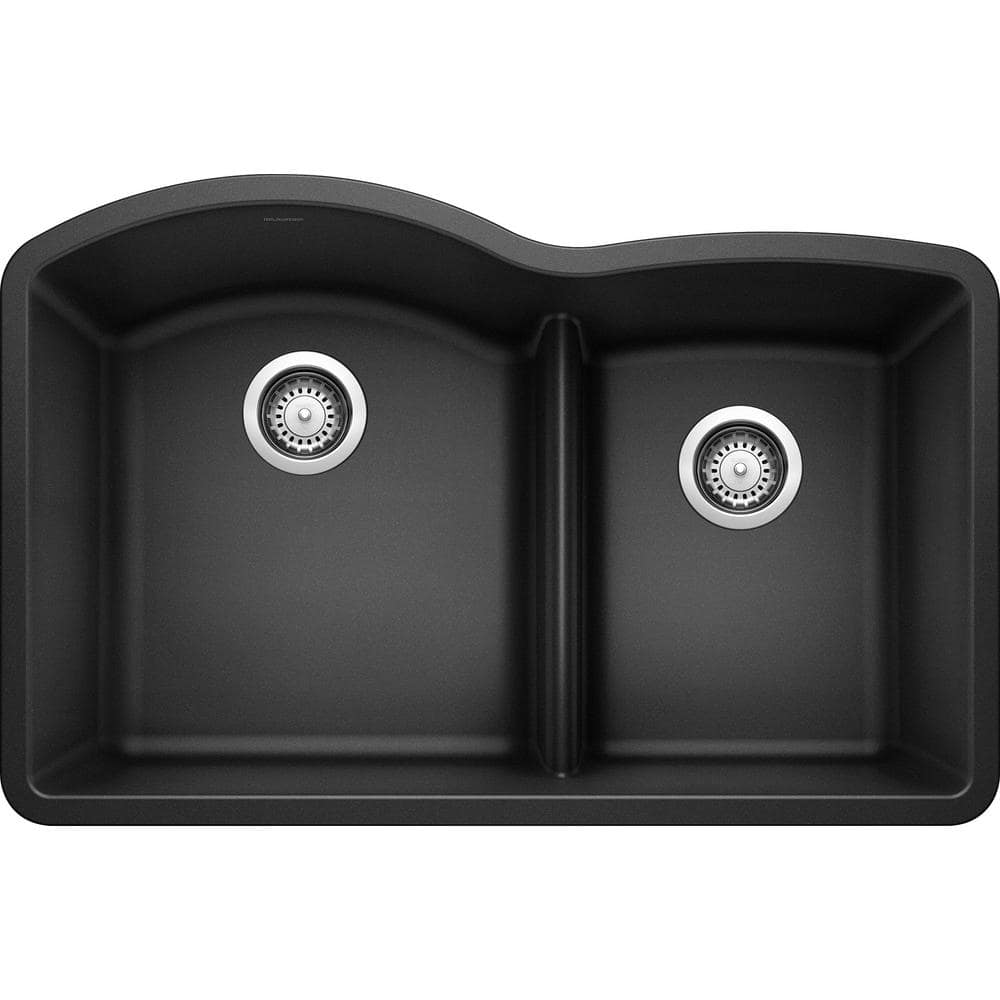 blanco diamond undermount granite composite 32 in 60 40 double bowl kitchen sink with low divide in anthracite 441590 the home depot