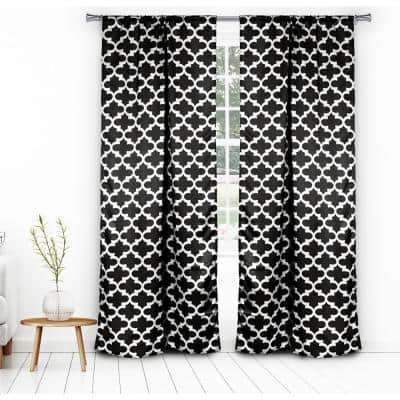 Black Trellis Thermal Blackout Curtain - 38 in. W x 84 in. L (Set of 2)