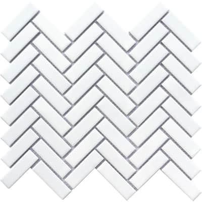 Impact White 10.91 in. x 12.01 in. Herringbone Matte Porcelain Mosaic Tile (0.923 sq. ft./Each)