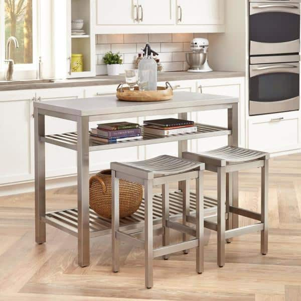 Homestyles 24 In Brushed Satin Stainless Steel Counter Stool Set Of 2 5617 882 The Home Depot