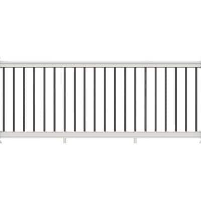 Bella Premier Series 10 ft. x 36 in. White PolyComposite Rail Kit with Black Aluminum Balusters