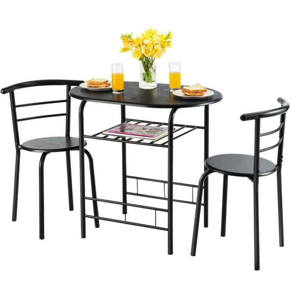 Portable Table Set SDHYL 3 Piece Dining Set Dining Table Set with 2 Chairs Breakfast Table for Kitchen Computer Table for 2 Coffee Table Set Walnut CA-7-LD-CT01WNT-CA Home Office Table Set
