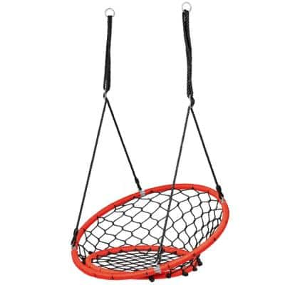 Orange Spider Web Chair Swing with Adjustable Hanging Chain Kids Play Equipment
