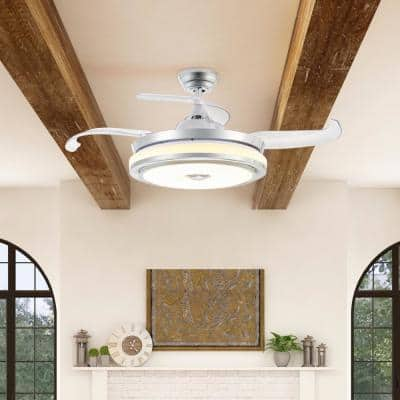 42 in. LED Indoor Chrome Retractable Ceiling Fan with Bluetooth and 3 Color RGB LED Light Kit