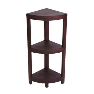 Oasis 12 in. 3-Tier Teak Corner Shower Shelf