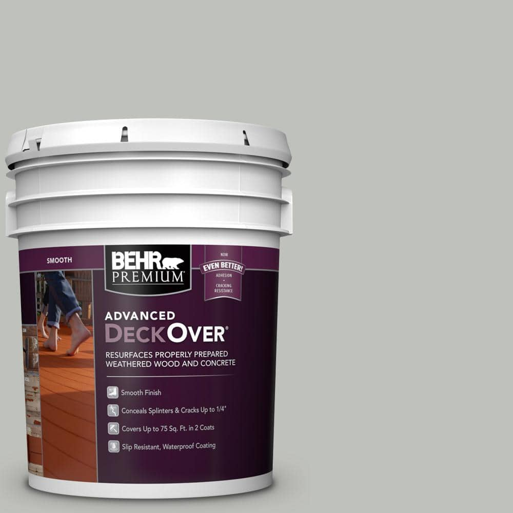 BEHR PREMIUM ADVANCED DECKOVER 5 gal. #SC-365 Cape Cod Gray Smooth Solid Color Exterior Wood and Concrete Coating
